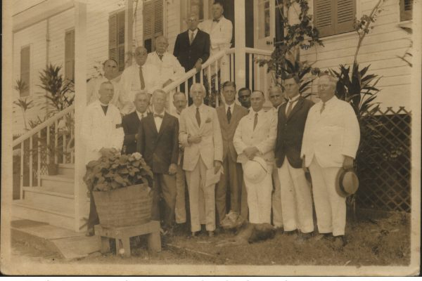 Marguerite' grandfather, Rev. Cleghorn along with Charles Lindberg in front of the Governor General House
