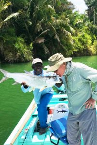 Tarpon fishing in the river at Belize's historic fishing lodge with one of Belize's best fishing guides